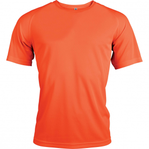 Short-sleeved sports t-shirt - men - fluorescent orange