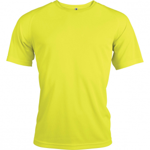 Short-sleeved sports t-shirt - men - fluorescent yellow