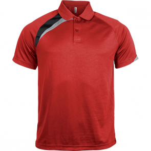 Short-sleeved sports polo shirt - men - sporty red/black/storm grey