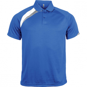 Short-sleeved sports polo shirt - men - sporty royal blue/white/storm grey