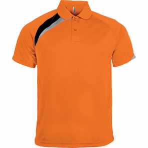 Short-sleeved sports polo shirt - kids - orange/black/storm grey