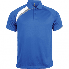 Short-sleeved sports polo shirt - kids - sporty royal blue/white/storm grey
