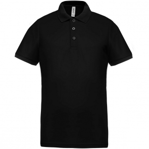 Performance piqué polo shirt - men - black/black