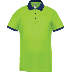 Performance piqué polo shirt - men - lime/navy