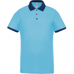 Performance piqué polo shirt - men - sky blue/navy