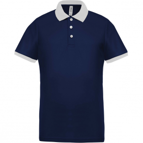Performance piqué polo shirt - men - navy/white