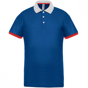 Performance piqué polo shirt - men - sporty royal blue/white/red