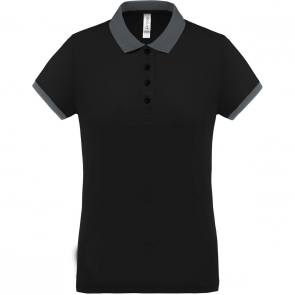 Performance piqué polo shirt - ladies - black/sporty grey