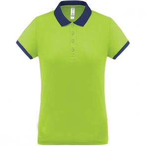 Performance piqué polo shirt - ladies - lime/navy
