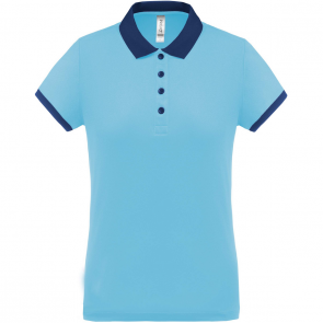 Performance piqué polo shirt - ladies - sky blue/navy