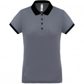 Performance piqué polo shirt - ladies - sporty grey/black