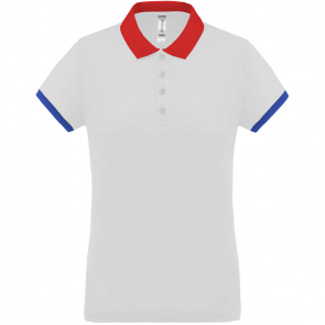 Performance piqué polo shirt - ladies - white/red/sporty royal blue