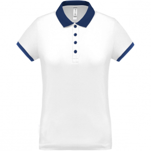 Performance piqué polo shirt - ladies - white/navy