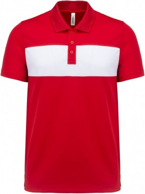 Short-sleeved polo shirt - men - red/white