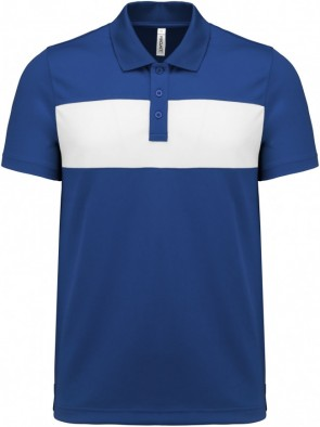 Short-sleeved polo shirt - royal blue/white
