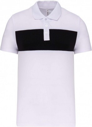 Short-sleeved polo shirt - white/black