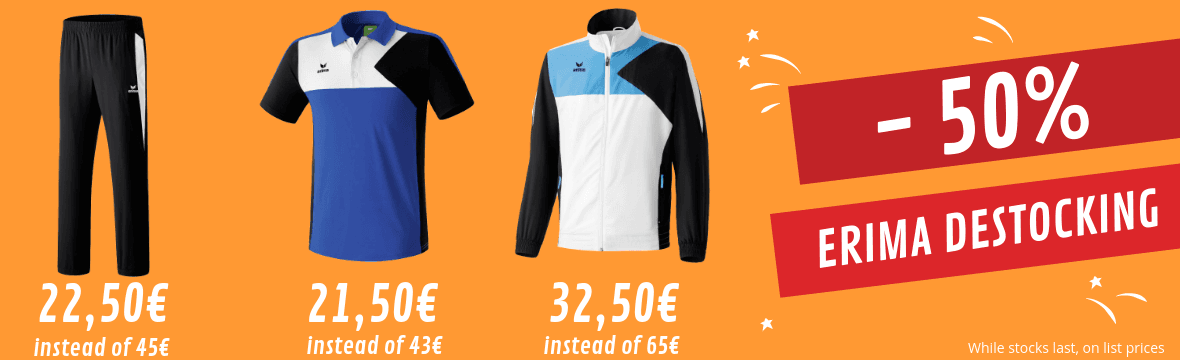 Erima destocking : 50% off sportswear and petanque